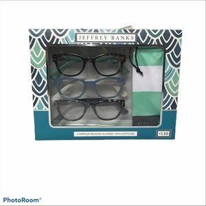 Jeffrey Banks +1.50 Pack of 3 Reading Glasses
